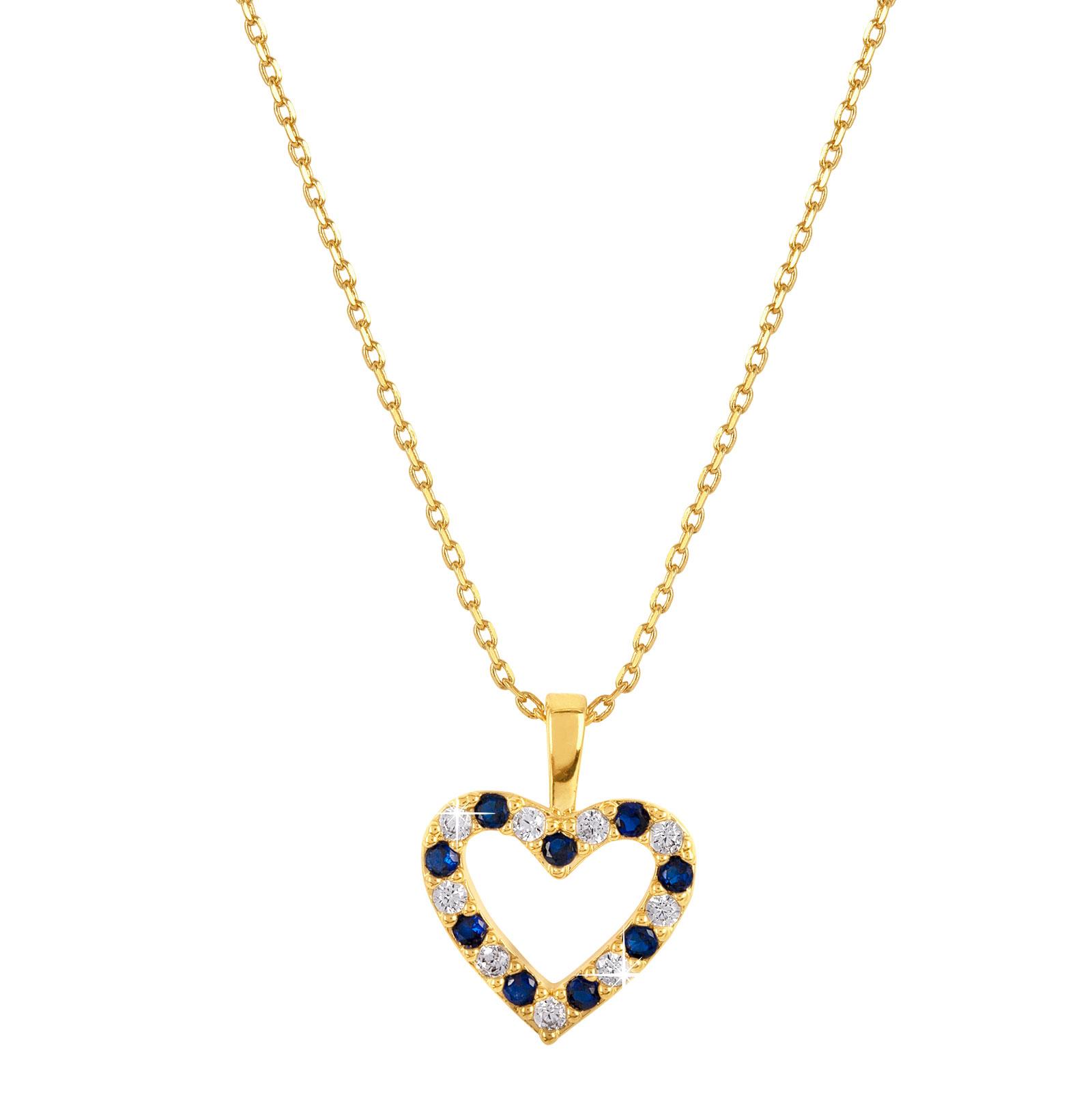 18k guldpläterat halsband - Berlock hjärta med blå och vita stenar