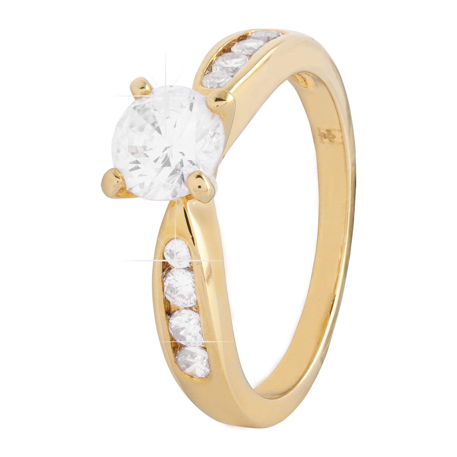 18K Guldpläterad ring med tre rader Kubisk Zirkonia