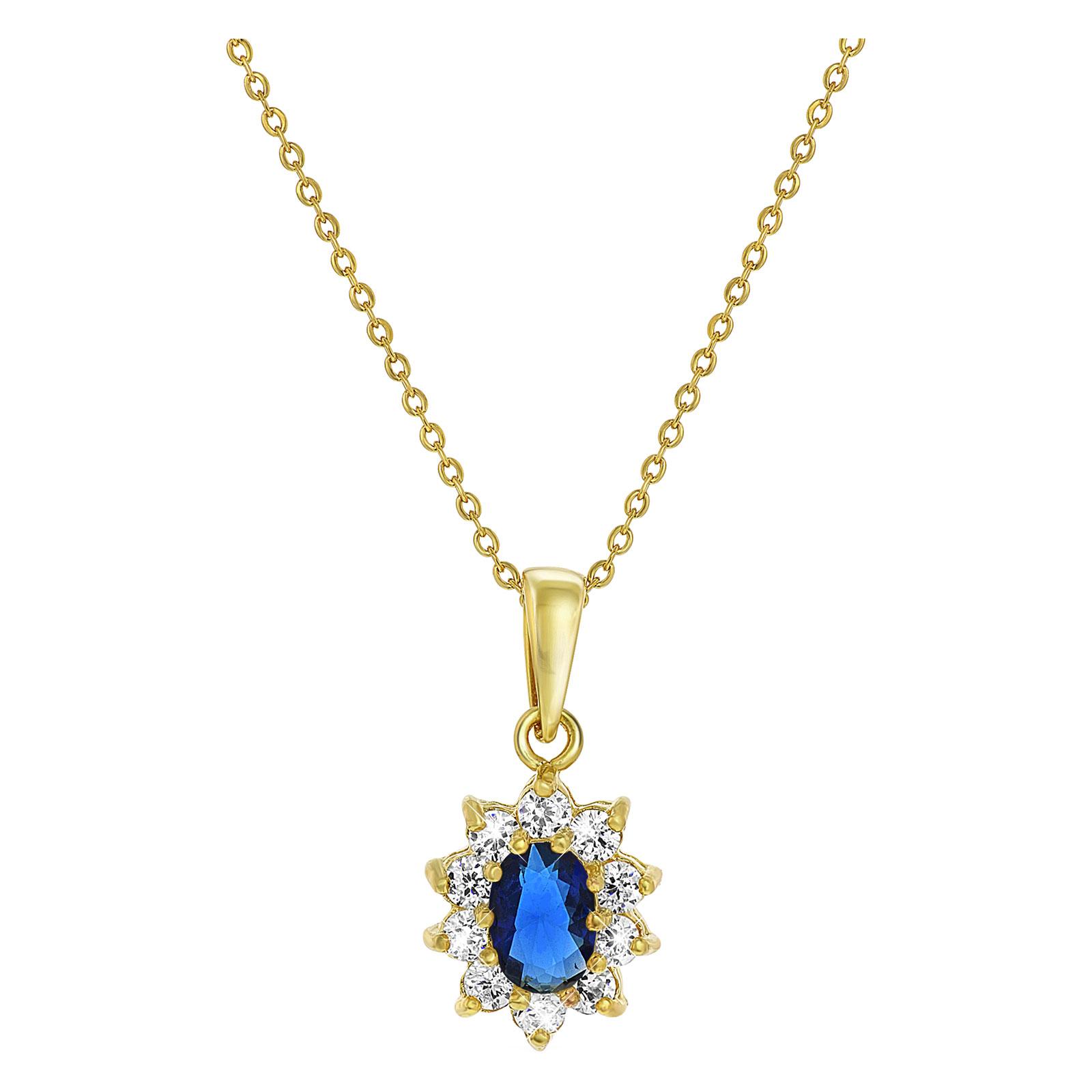 Guldpläterat halsband - Berlock med blå och vita stenar.