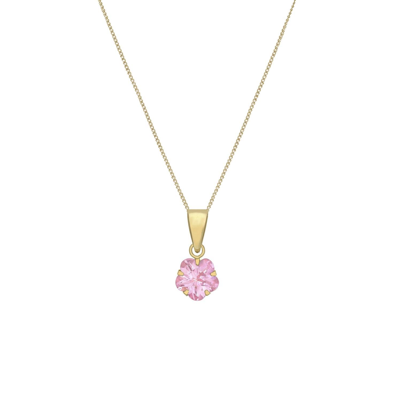 Halsband för barn 9K Guld - rosa CZ 36 cm
