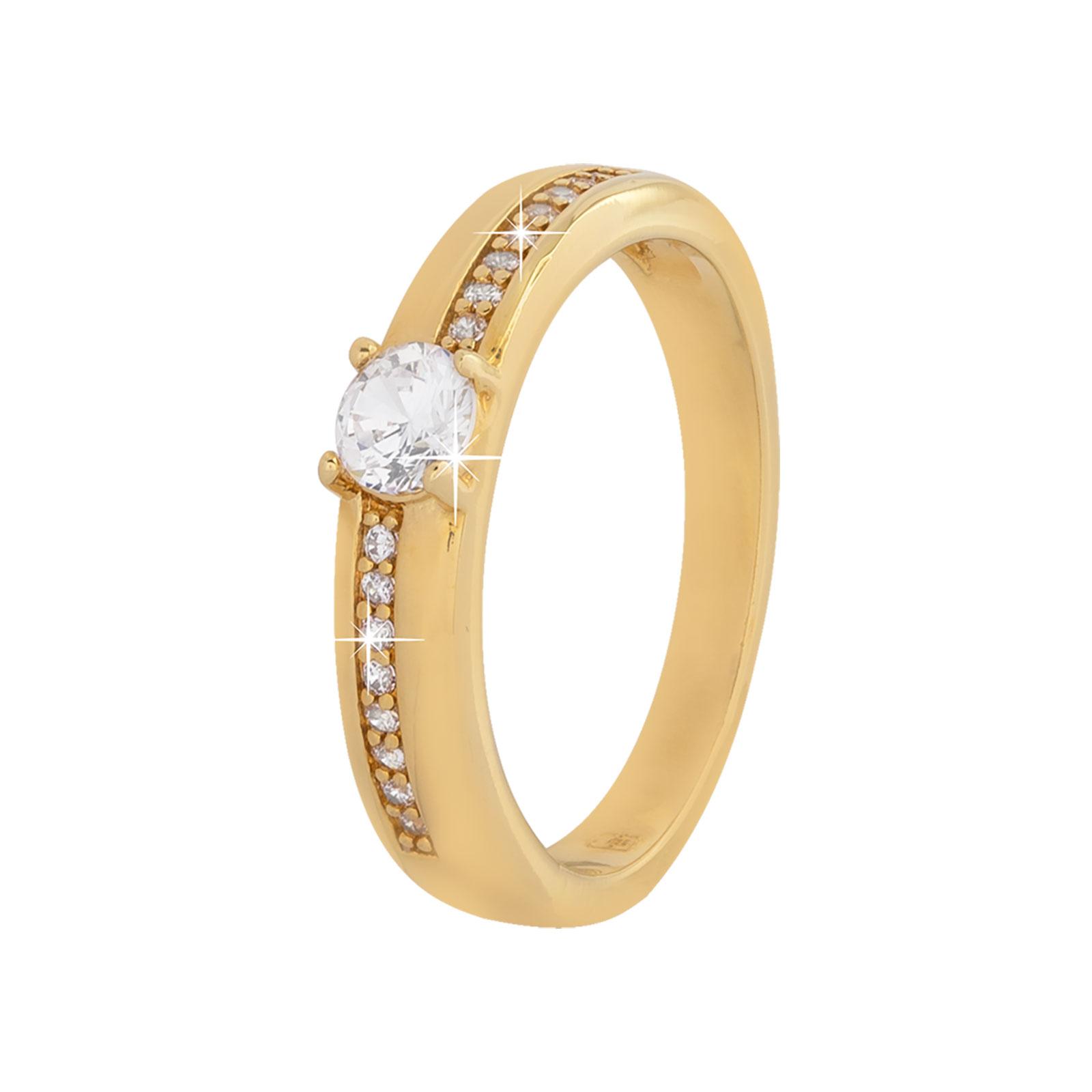 18k Guldpläterad ring med kubisk Zirkonia