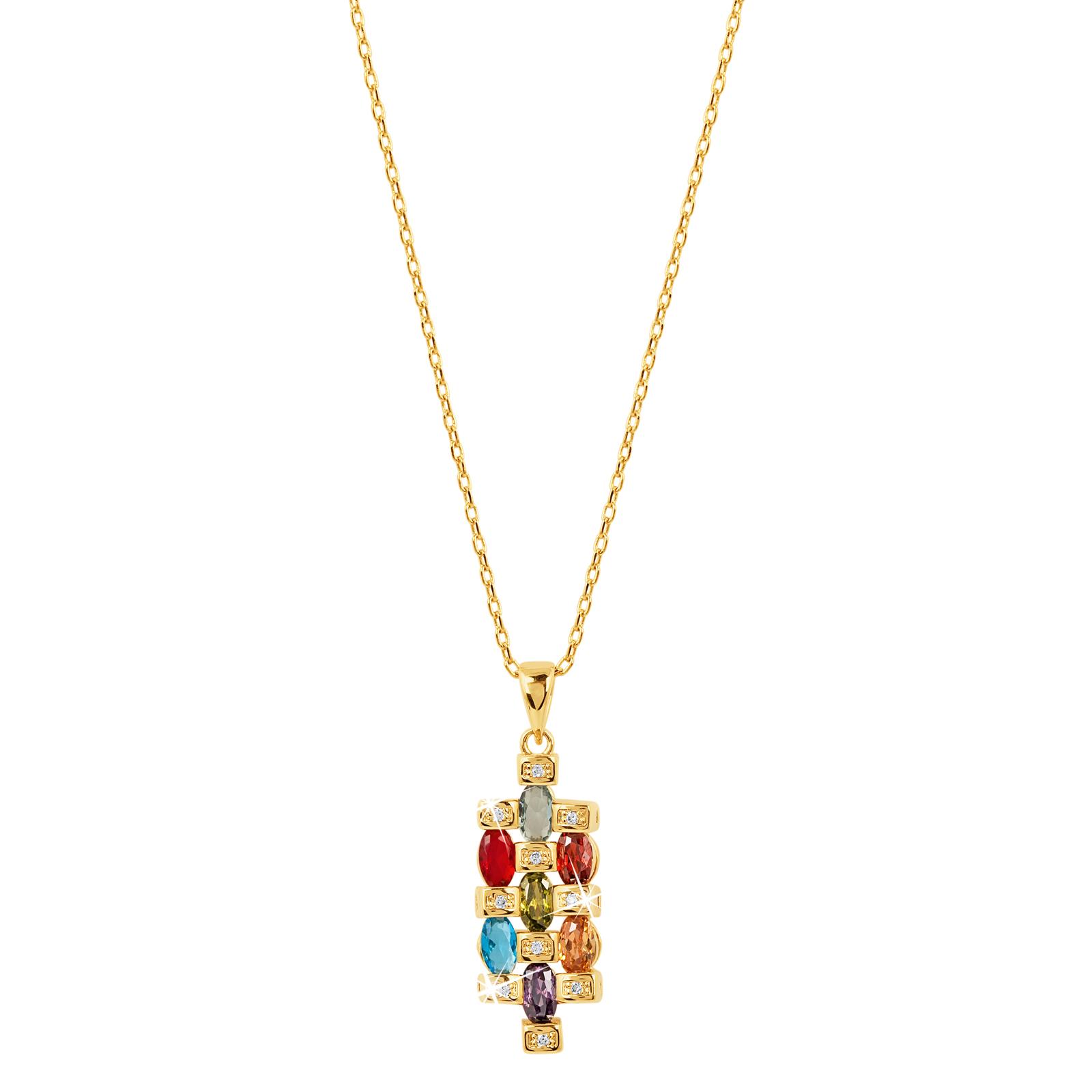 18k guldpläterat halsband med multifärgade Kubisk Zirkonia