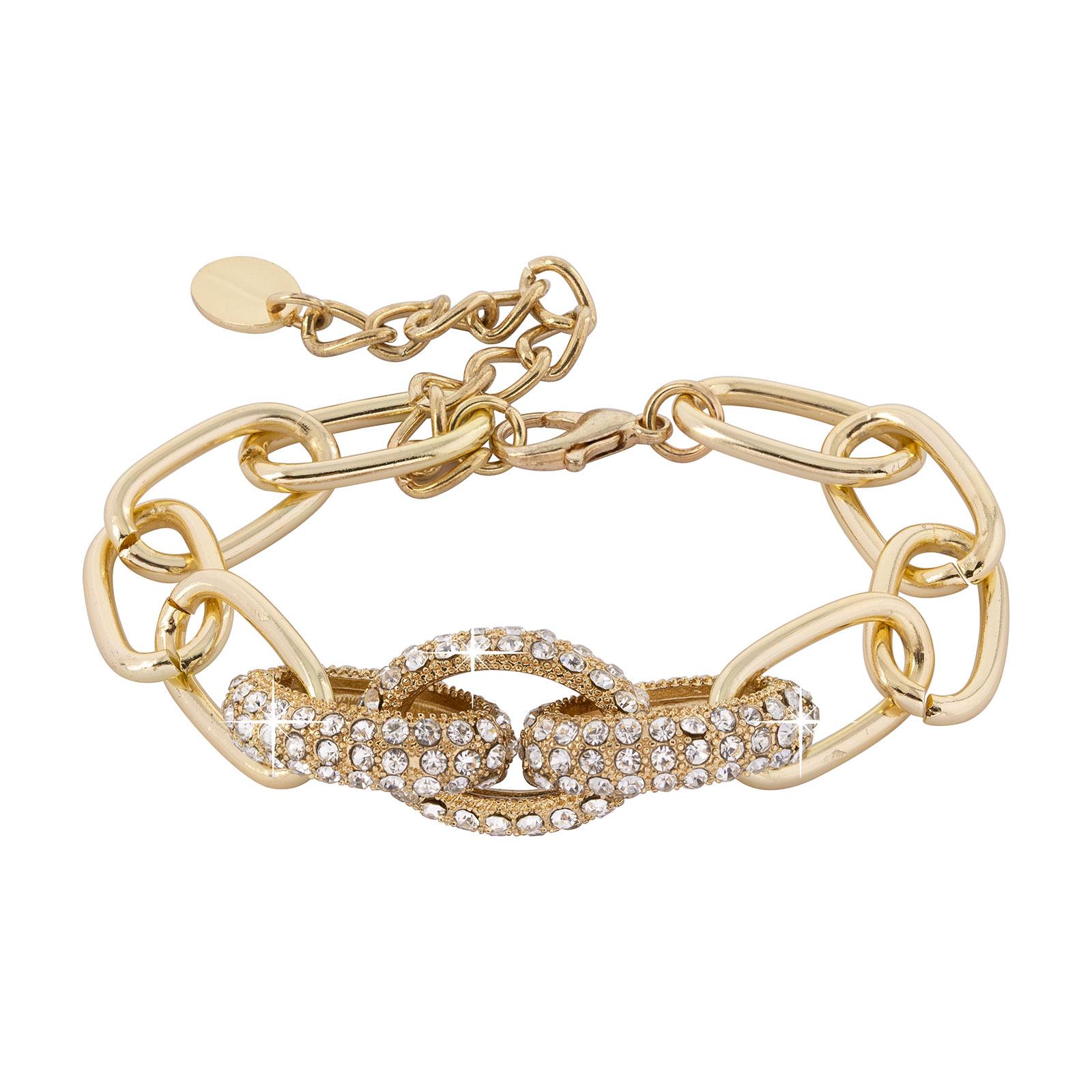 Armband - guldfärgat med kedja och glitter