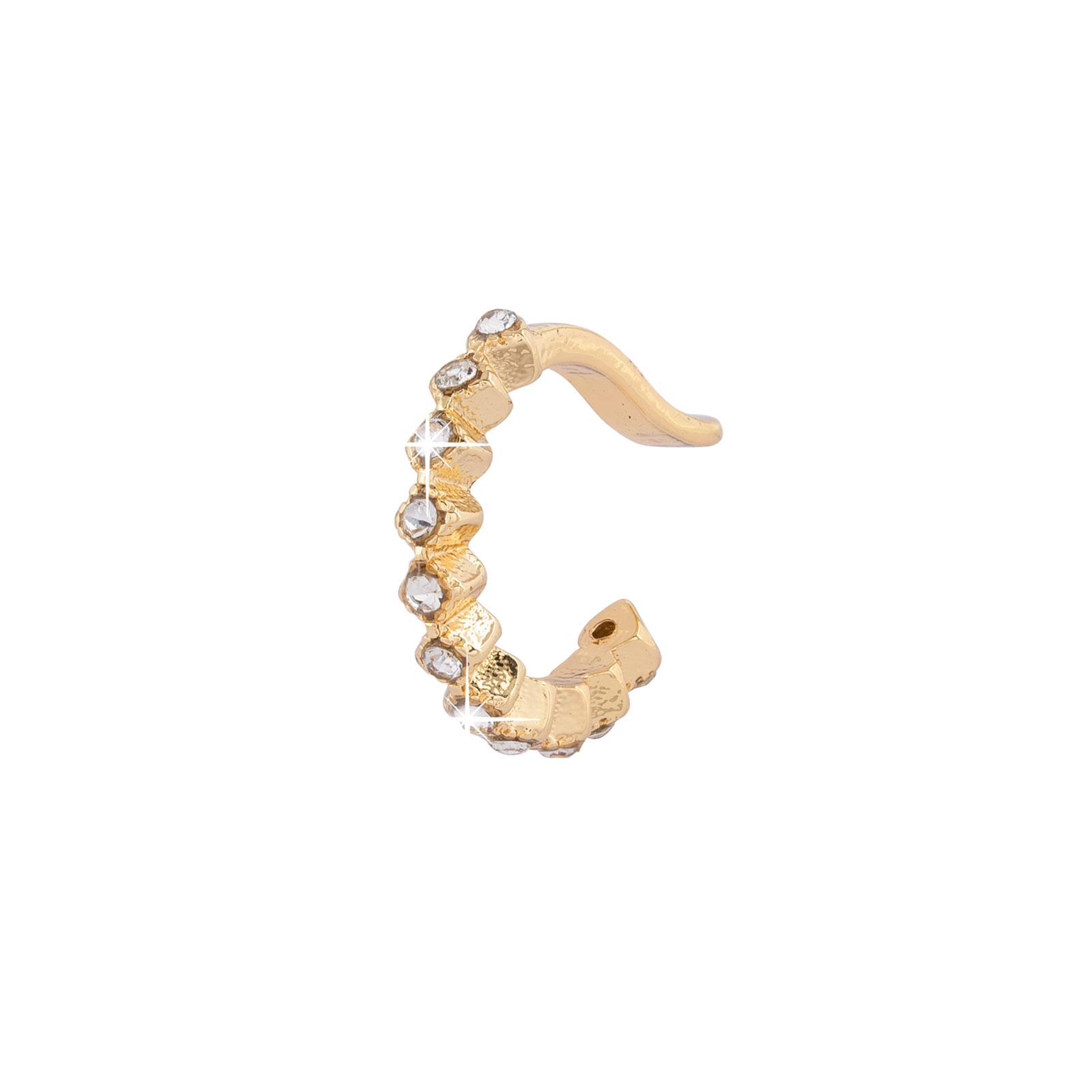 Earcuff - guldfärgad med fyrkantiga stenar