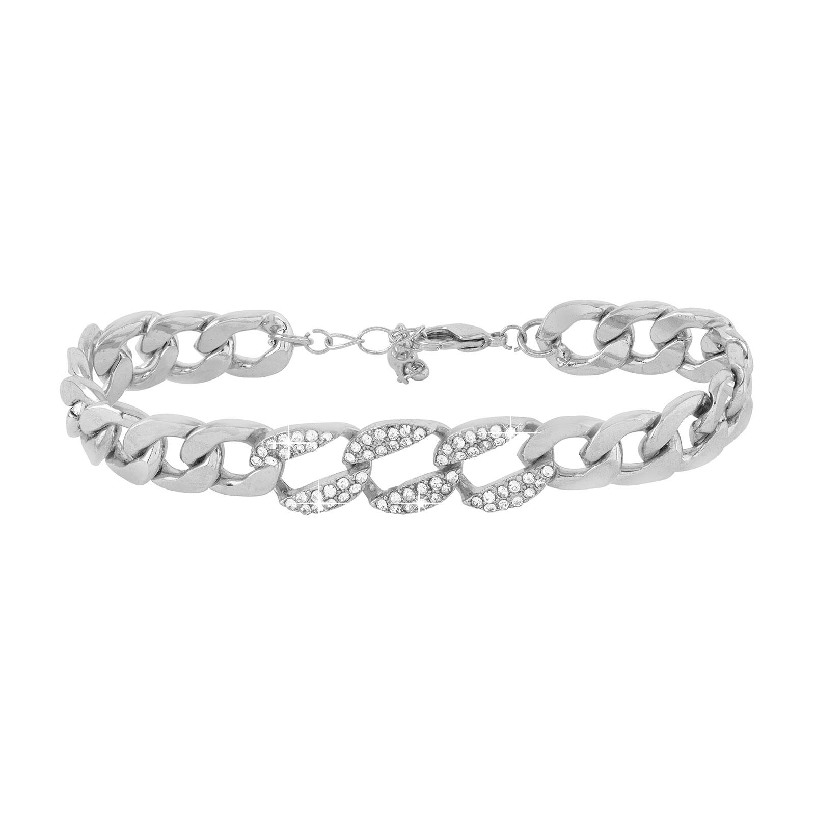 Armband - Silverfärgad kedja med vita stenar