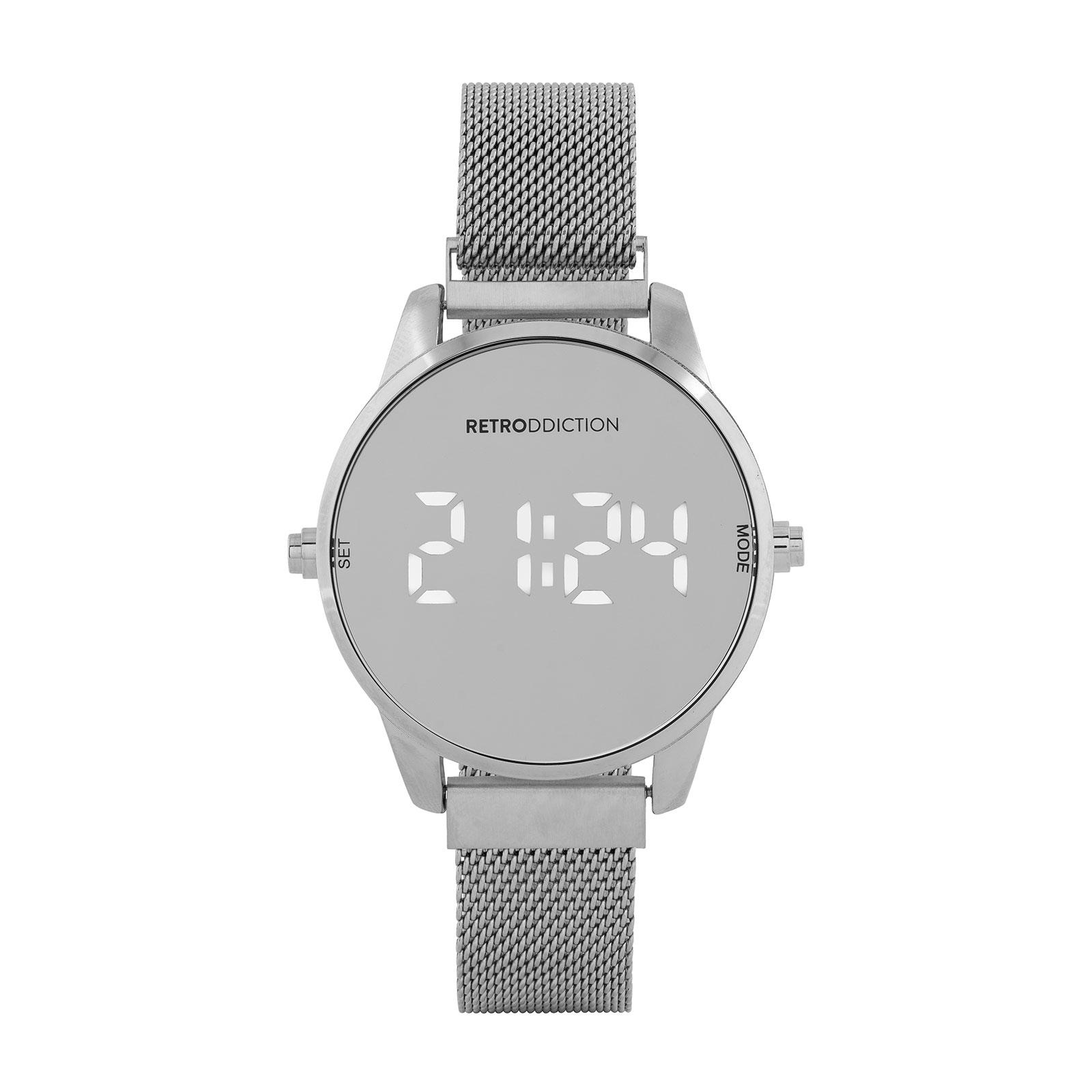 Digitalklocka Retroddiction - Silver med meshband
