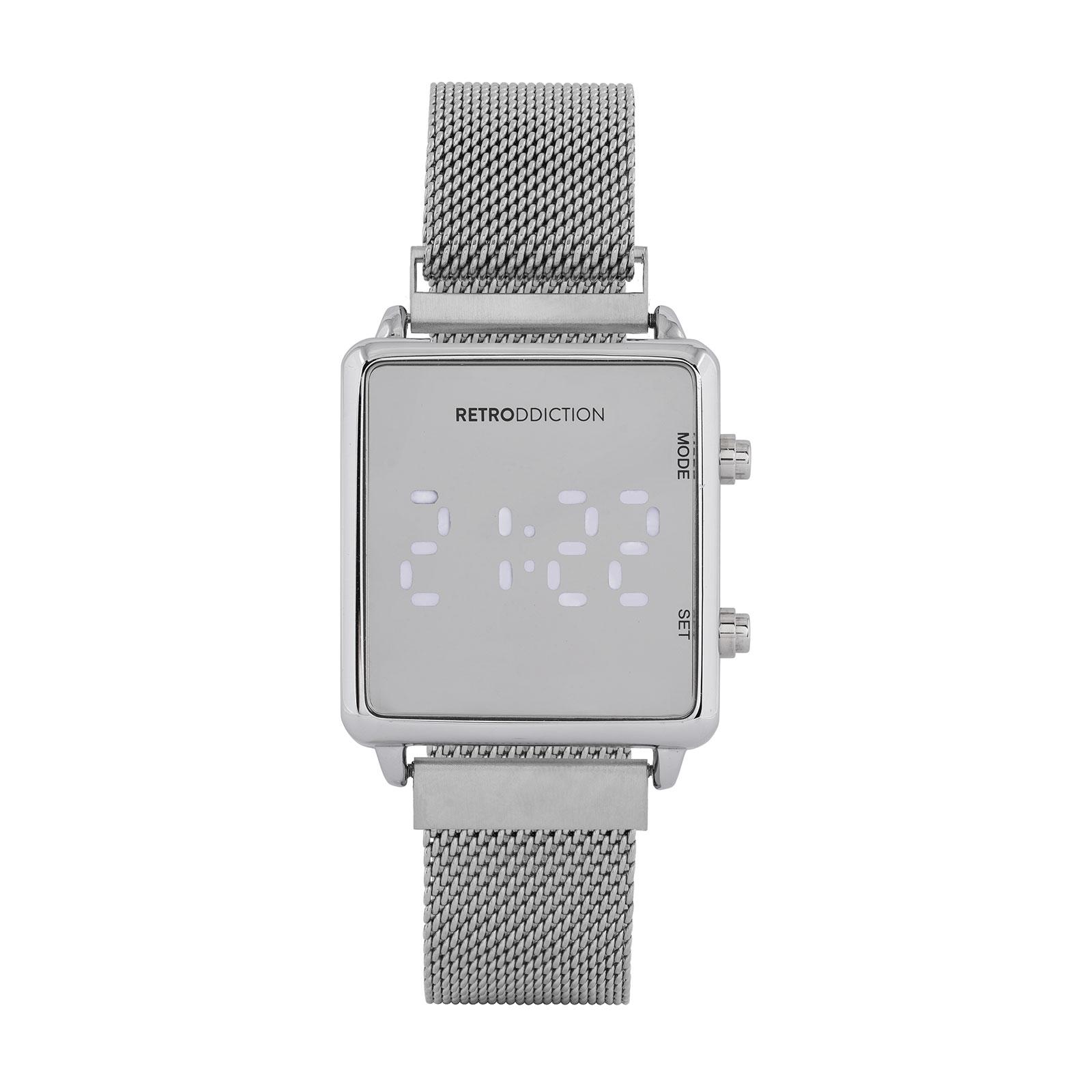 Digitalklocka Retroddiction - fyrkantig Silver med meshband