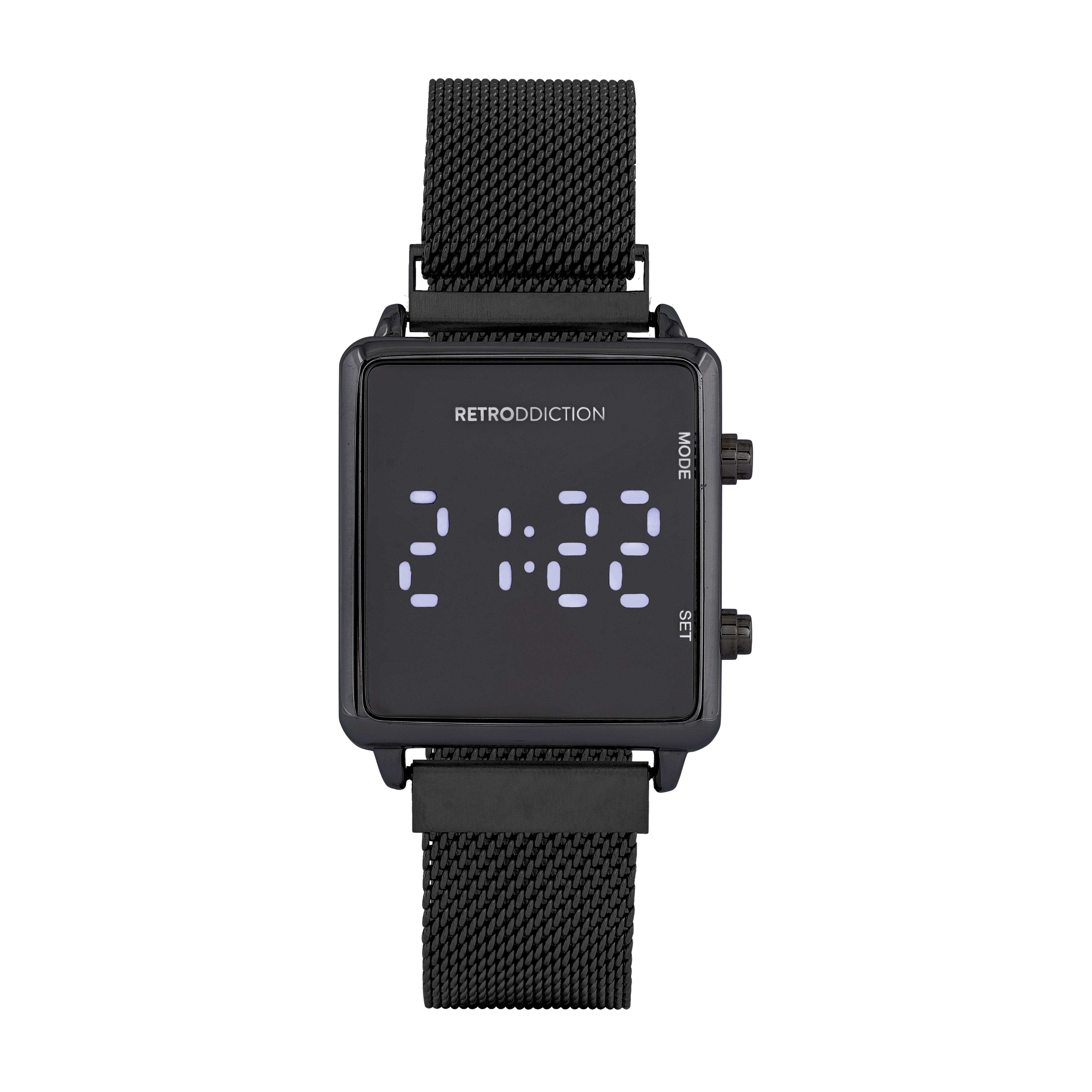 Digitalklocka Retroddiction - Fyrkantig svart med meshband