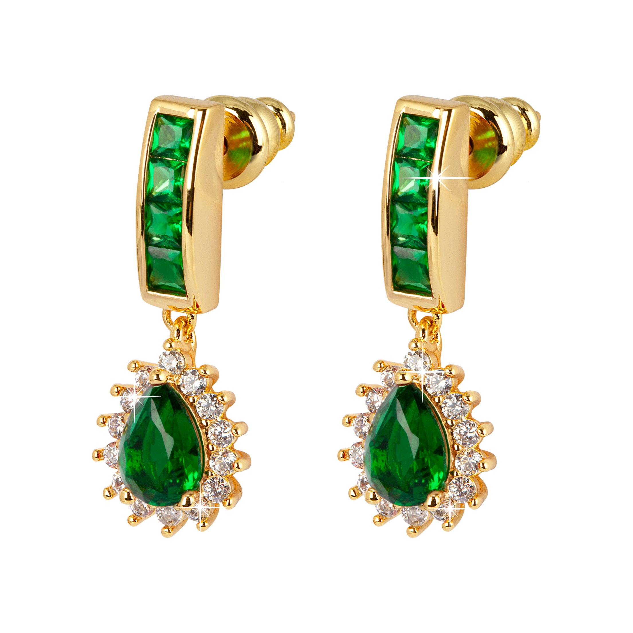 Guldpläterade örhängen - Gröna droppar