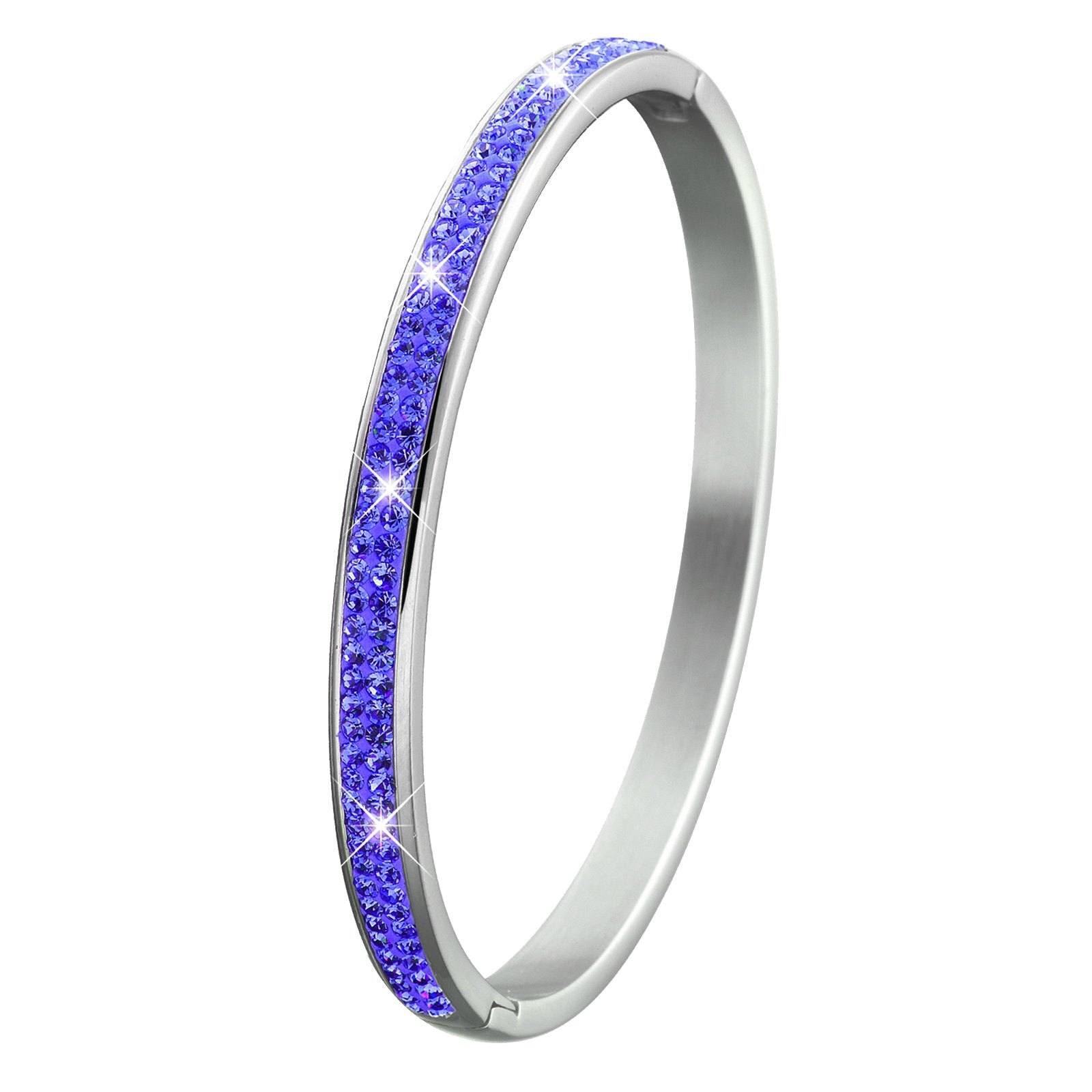 Armband för barn - bangle i stål med blå stenar