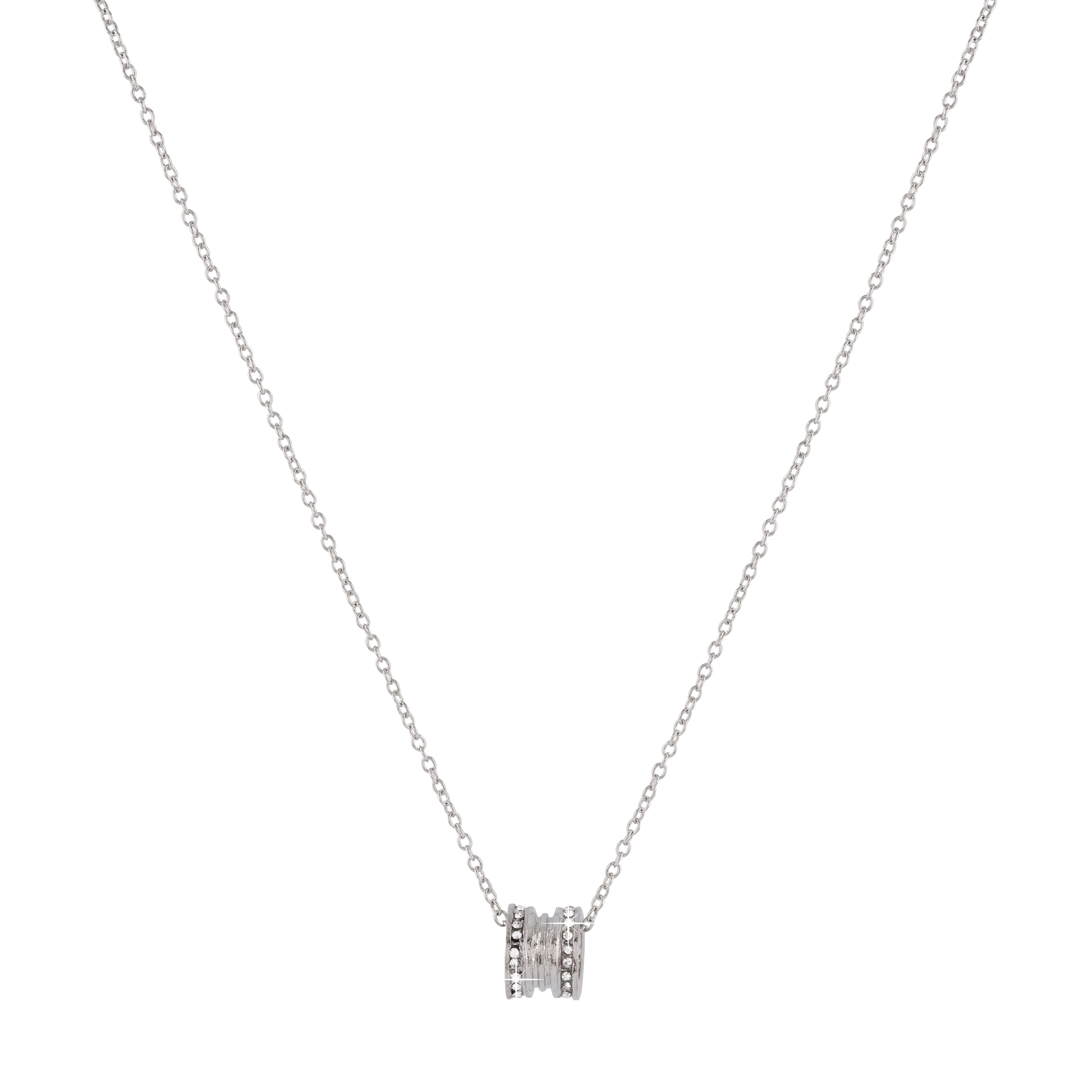 Halsband - silverfärgat med berlock och stenar