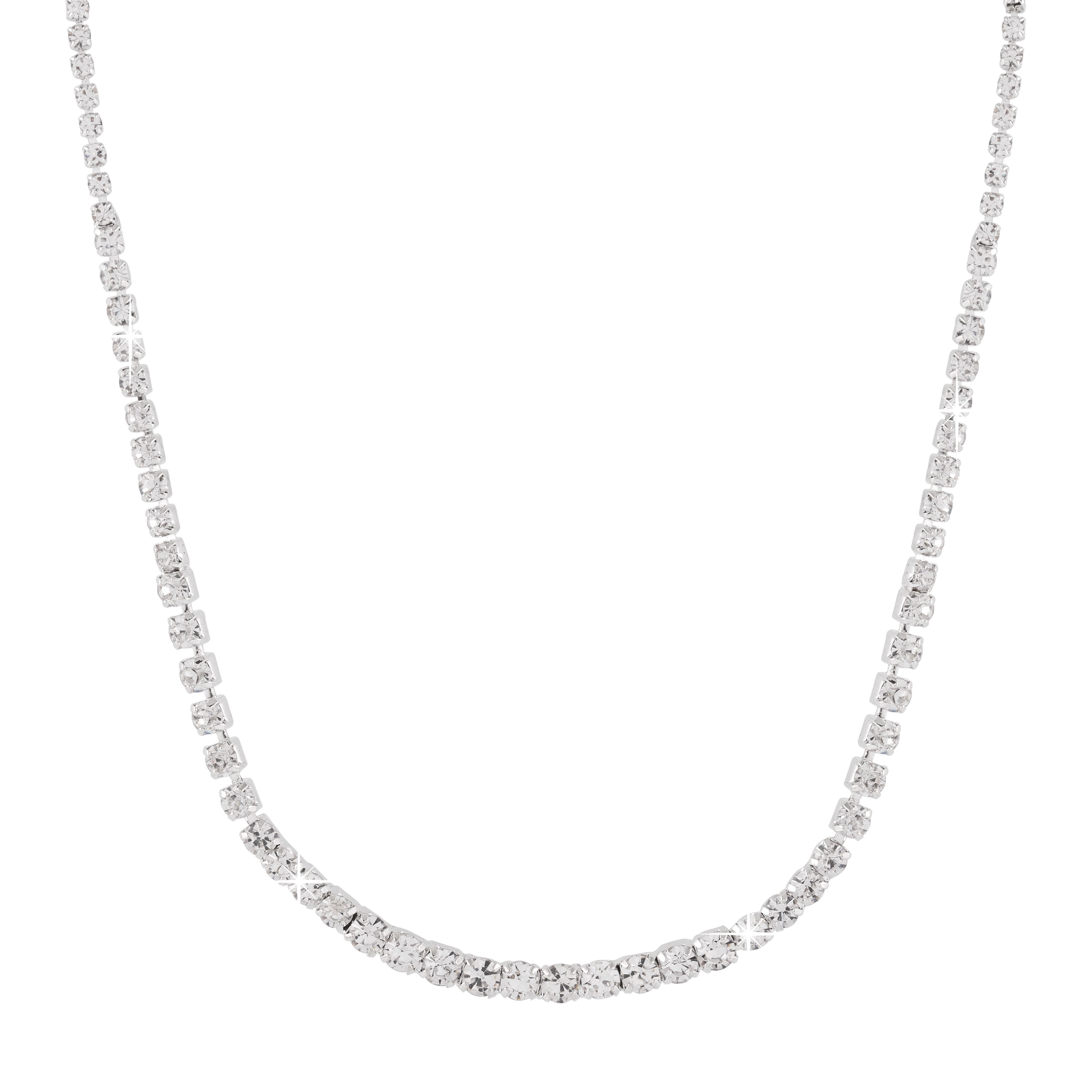 Silverfärgat enradigt strasshalsband