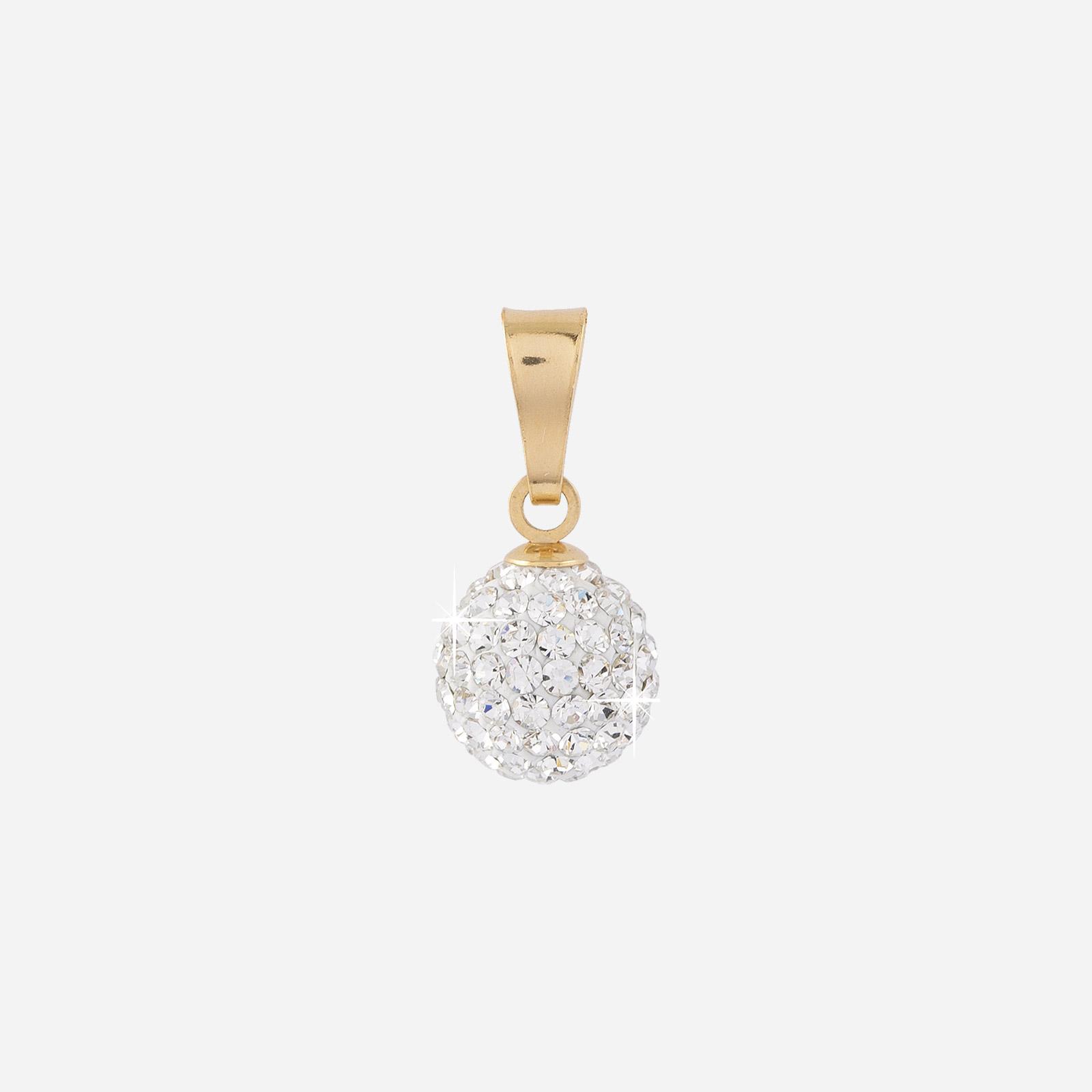 Berlock 18k guld - Boll med kristaller 8 mm