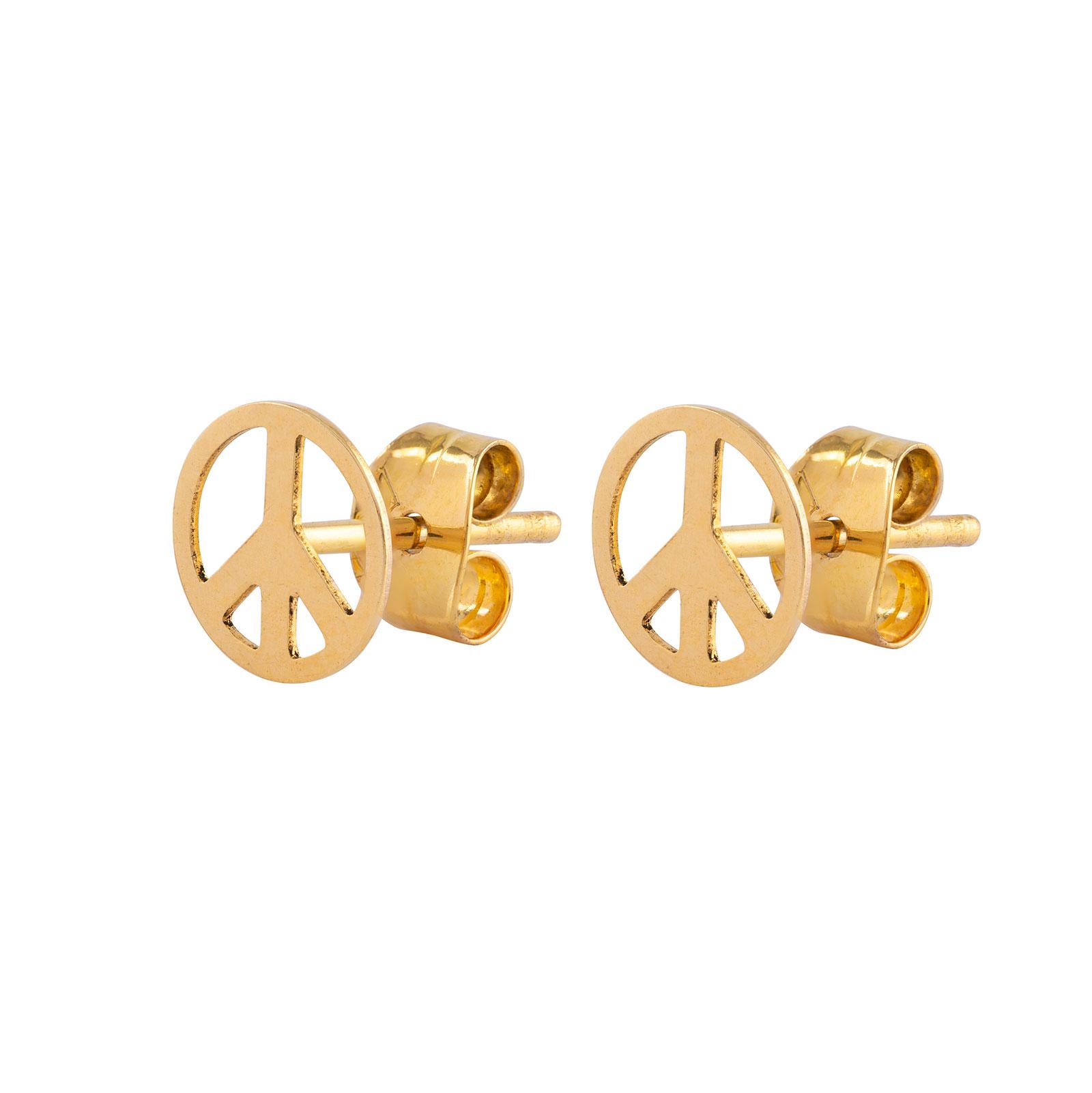 Örhängen 18k guld - Peace tecken 7 mm