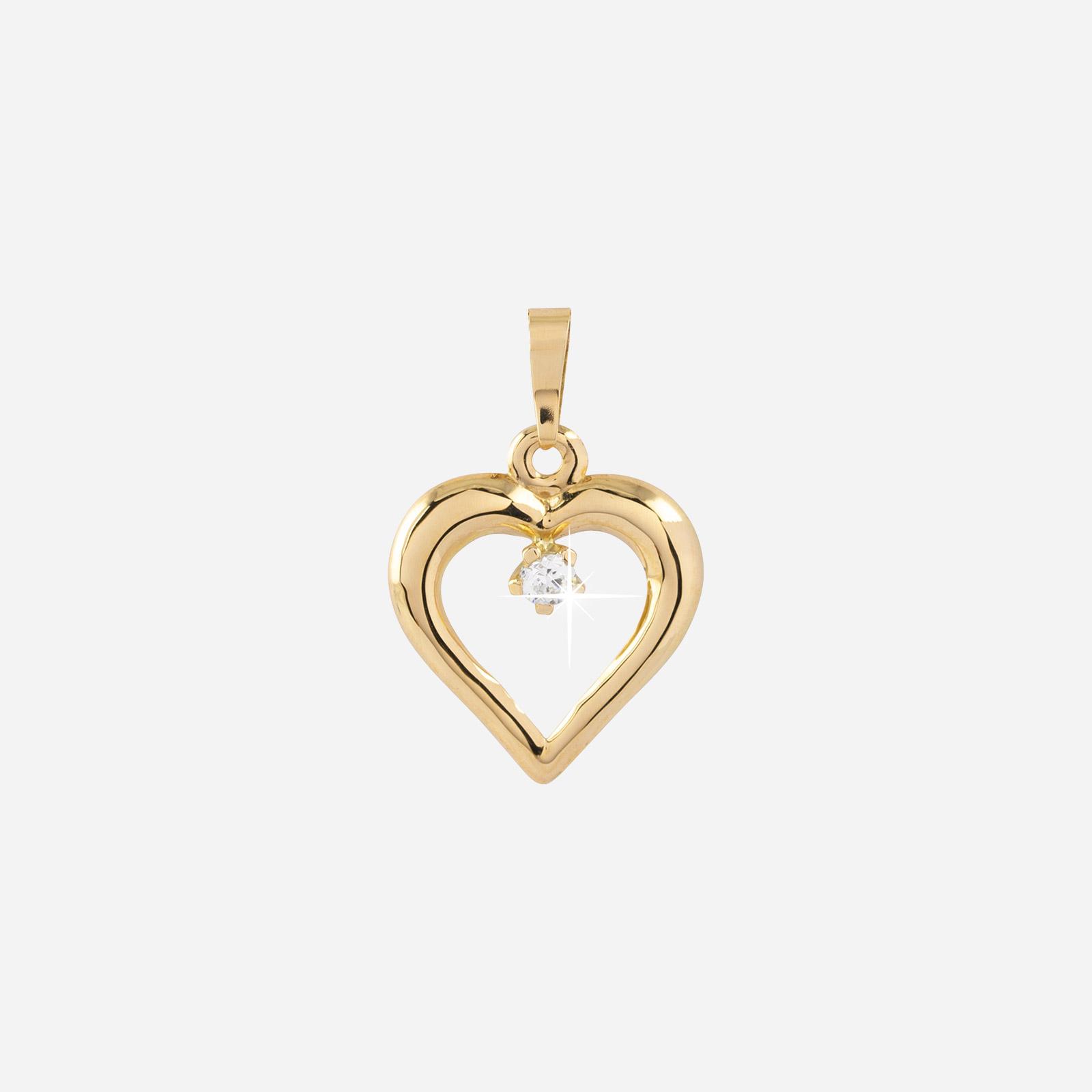 Berlock 18k guld - Hjärta med Kubisk Zirkonia 9 mm