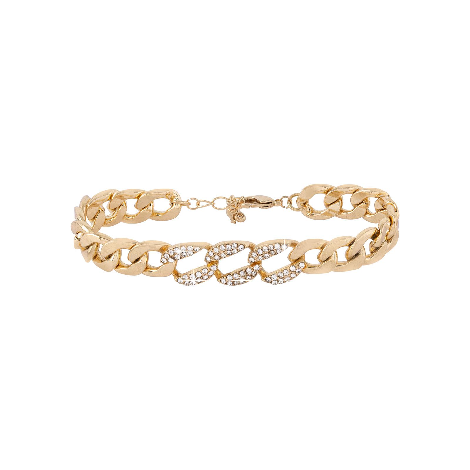 Armband - guldfärgad kedja med vita stenar