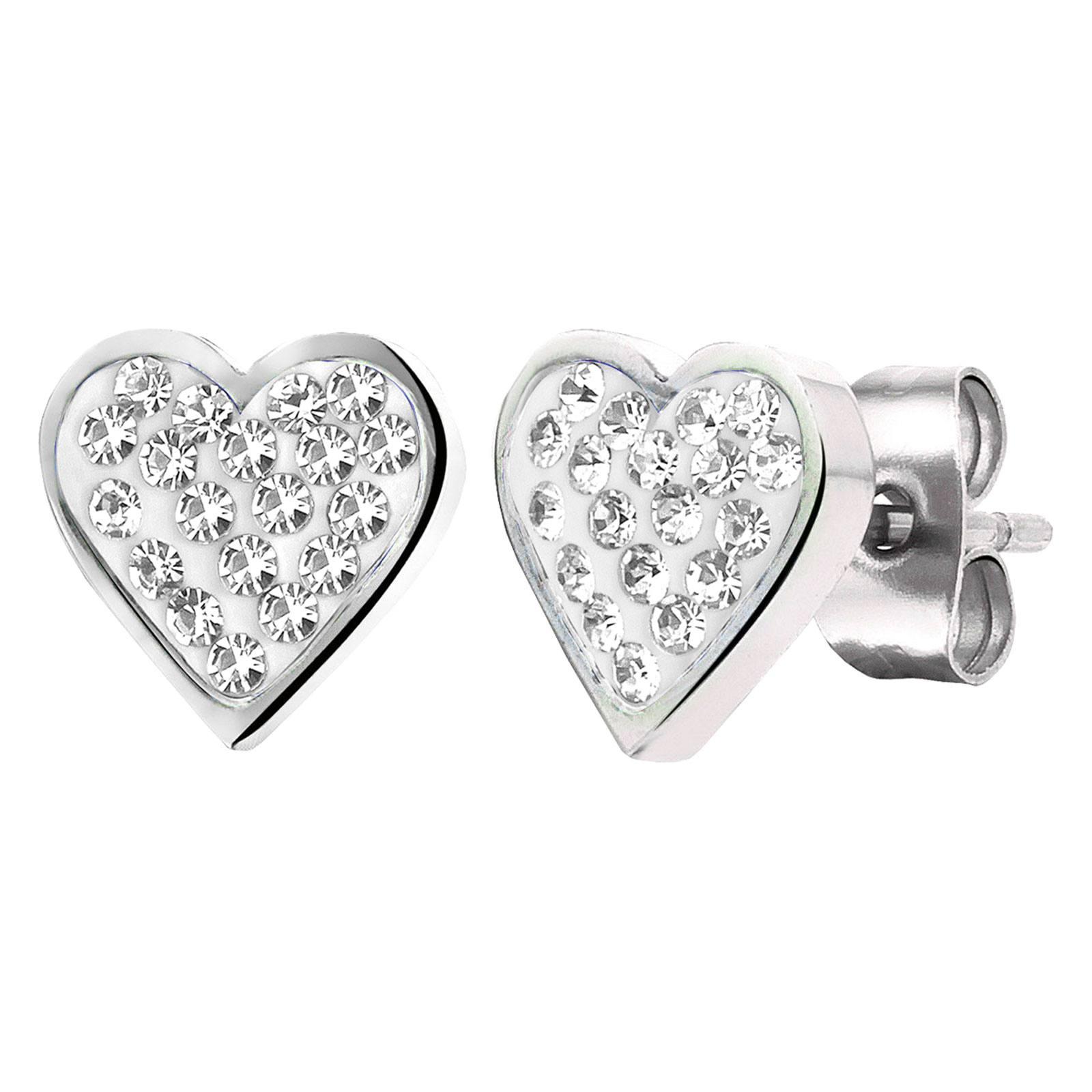 Örhängen för barn - stål med vita hjärtan