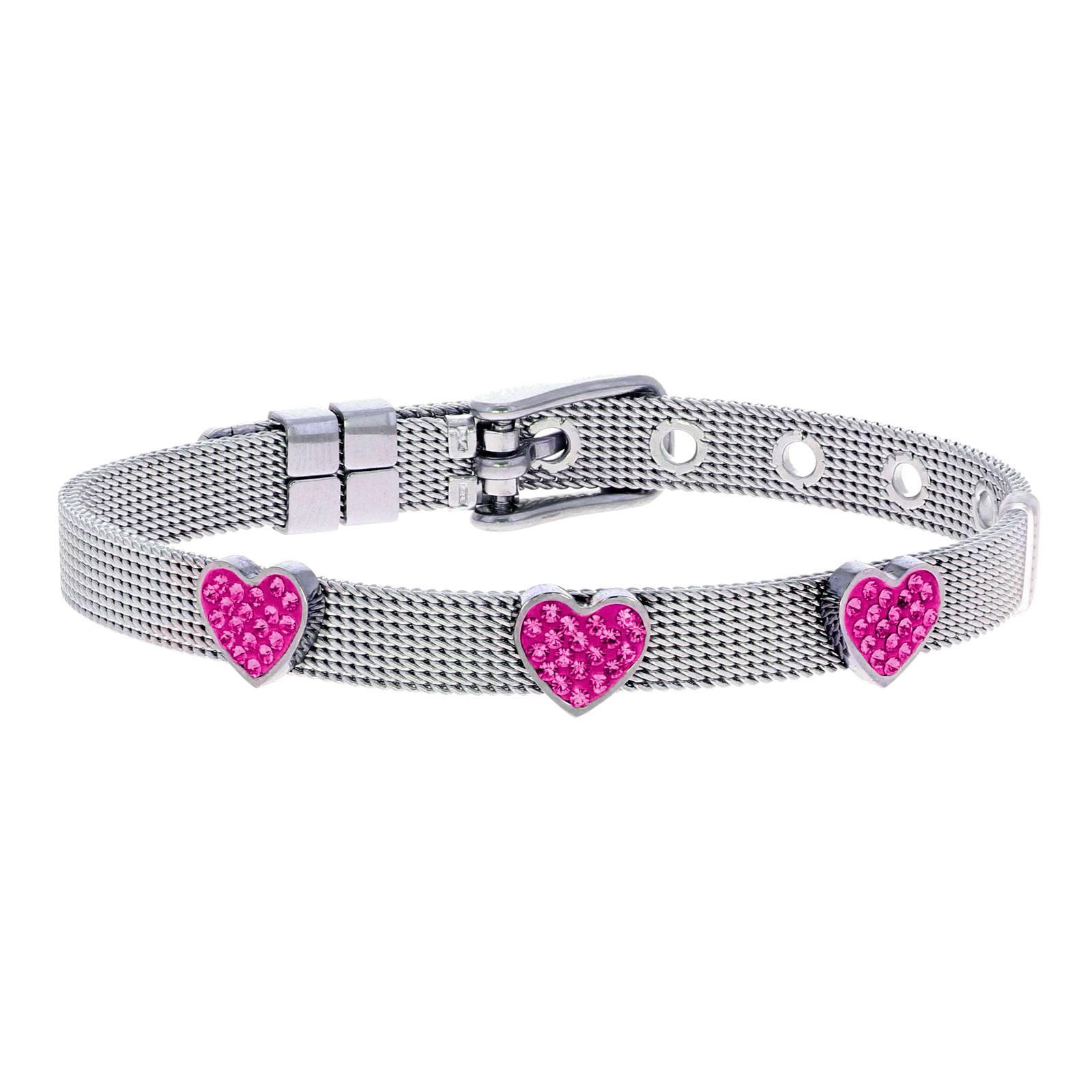 Armband för barn - stål med rosa hjärtan
