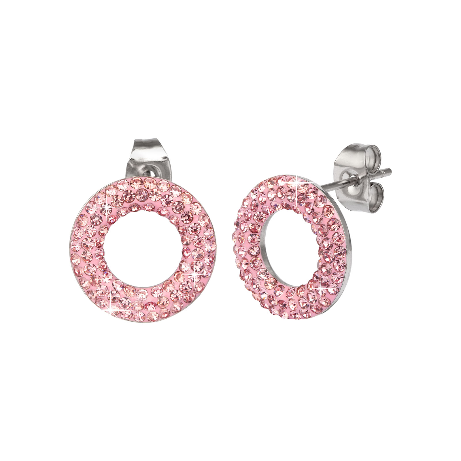 Örhängen stål - ringar med rosa stenar