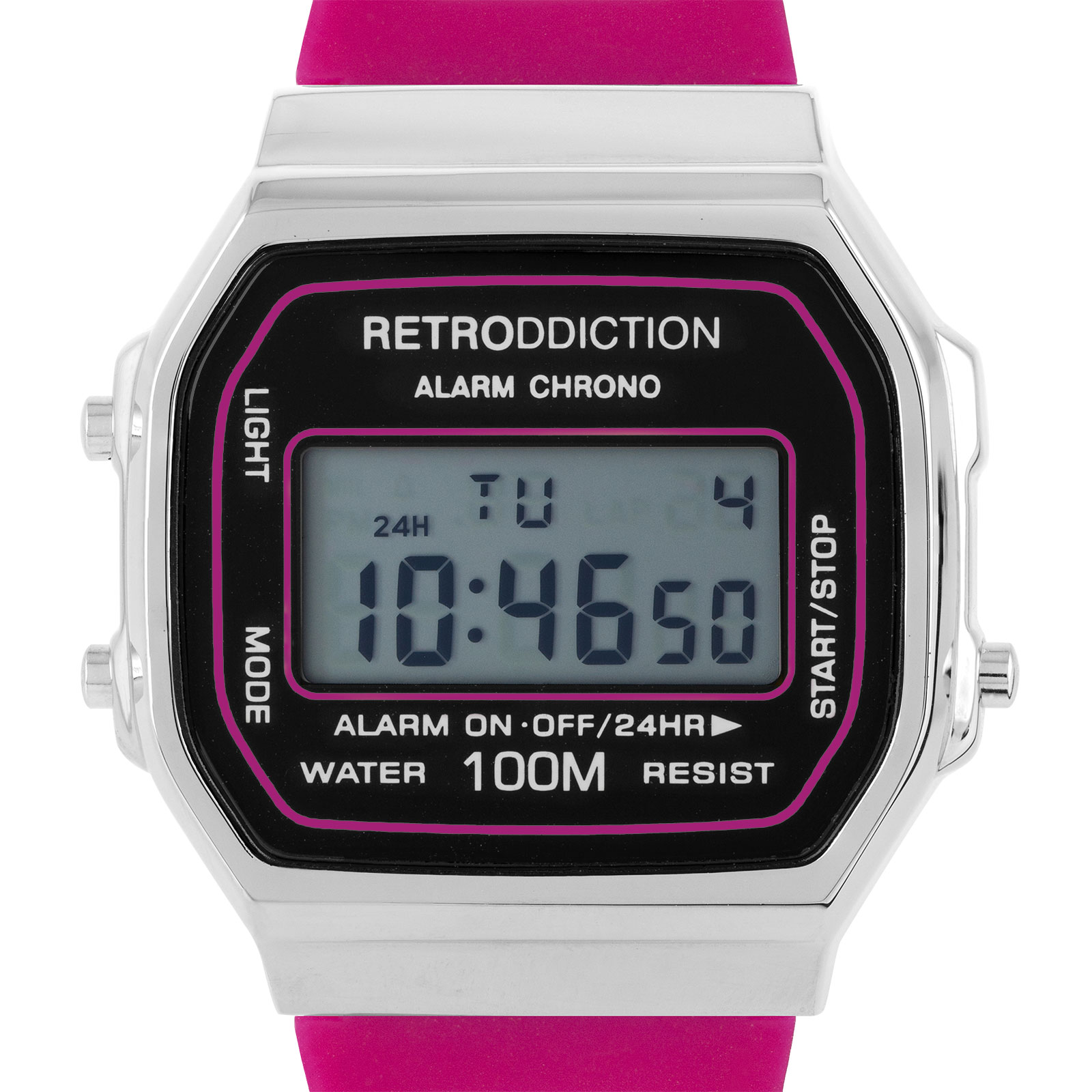 Retroddiction #18 - digitalklocka m. cerise gummiband